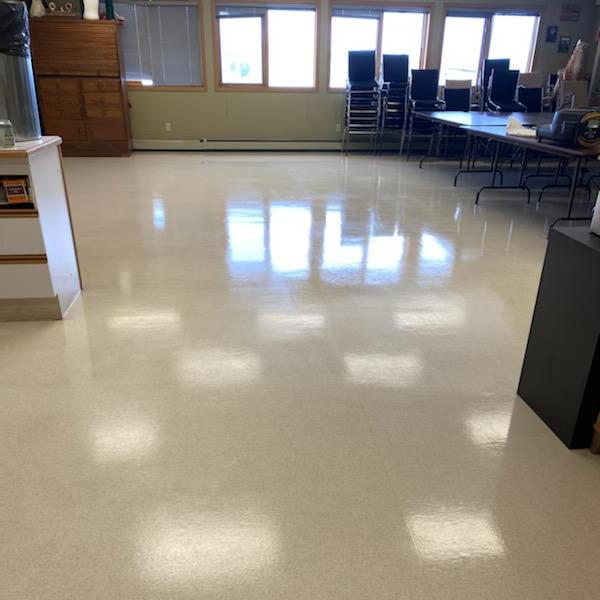 shiny re-finished waxed floor