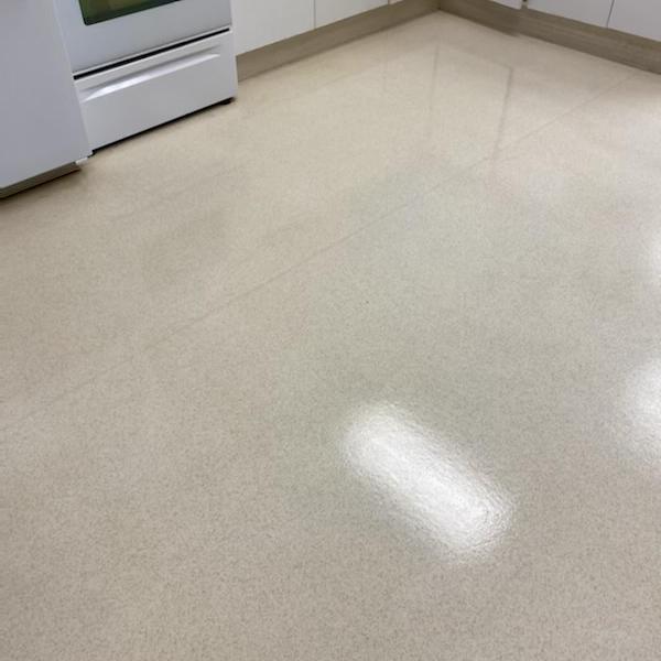 shiny waxed kitchen floor